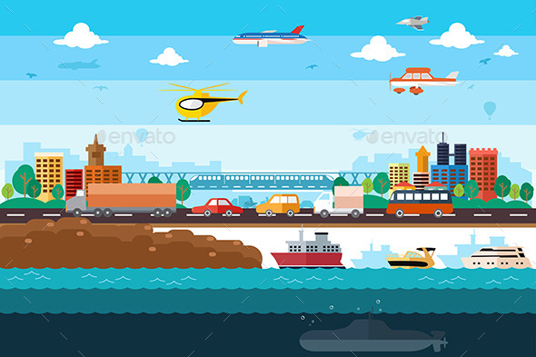 GraphicRiver Different Transportation 9698162