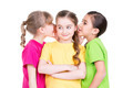 Three little cute smiling girl gossip. - PhotoDune Item for Sale