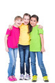 Three cute little cute smiling girls in colorful t-shirts. - PhotoDune Item for Sale