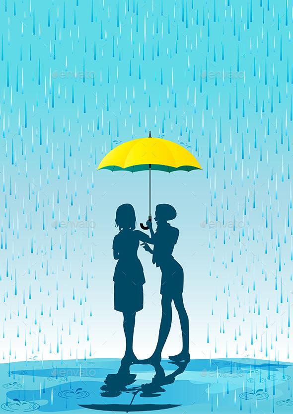 GraphicRiver Umbrella in the Rain 9698909