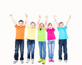 Group of smiling kids with raised hands. - PhotoDune Item for Sale