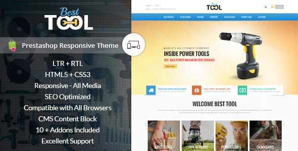 ThemeForest Tools Prestashop Responsive Theme 9699128