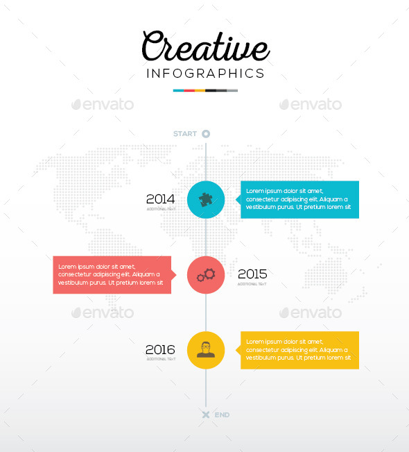 GraphicRiver Flat Timeline Infographic With Three Options 9606516