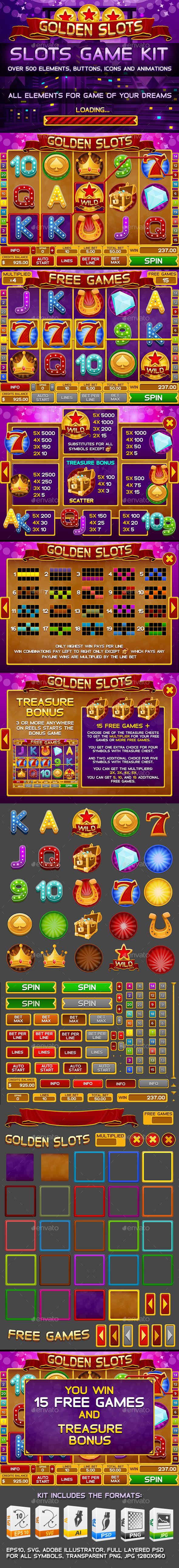 GraphicRiver Golden Slots Game Kit 9654983