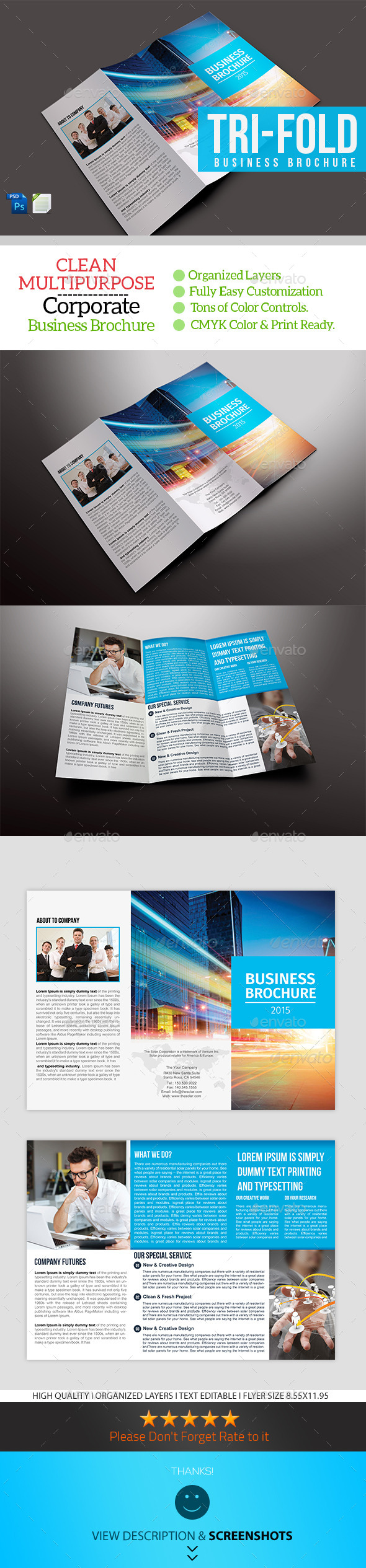 GraphicRiver Trifold Business Brochure Template 9699412