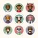 Flat Design Style Animal Avatar Icon Set - GraphicRiver Item for Sale