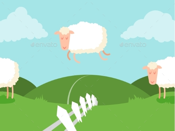 GraphicRiver Seamless Sheep Jumping Over the Fence 9699711