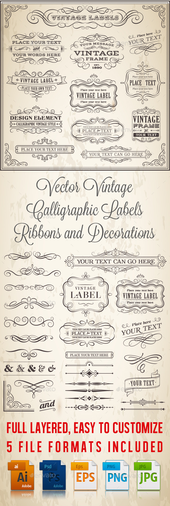 GraphicRiver Calligraphic Labels and Banners 9699727