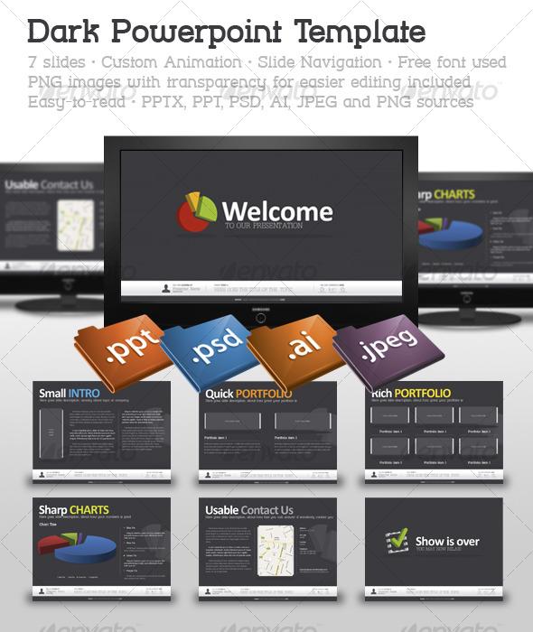 GraphicRiver Dark Powerpoint Template 123358
