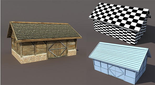 3DOcean Old Barn Low poly 3D model 9700850