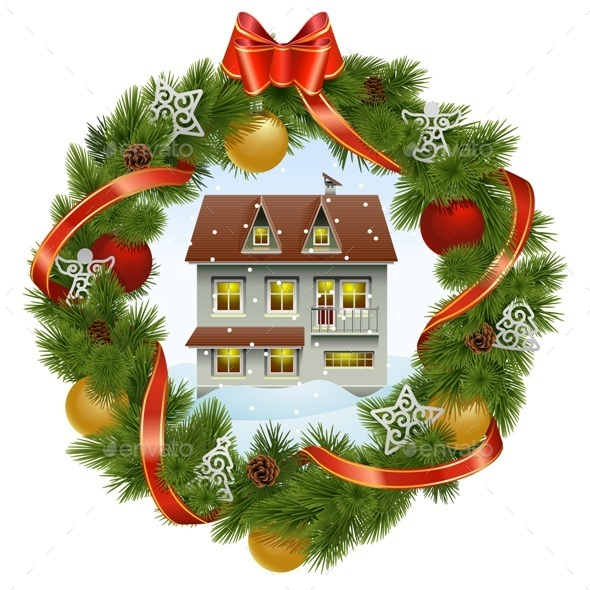 GraphicRiver Christmas Wreath with House 9700861