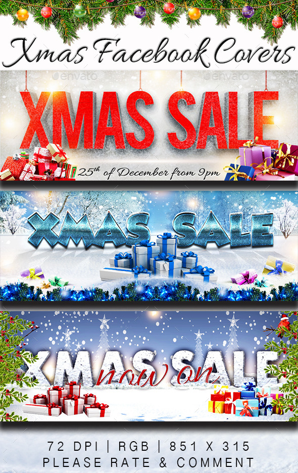 GraphicRiver Christmas Sale Facebook Covers 9666860