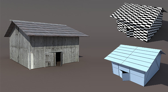 3DOcean Old Barn Low poly 3D Model 9700936