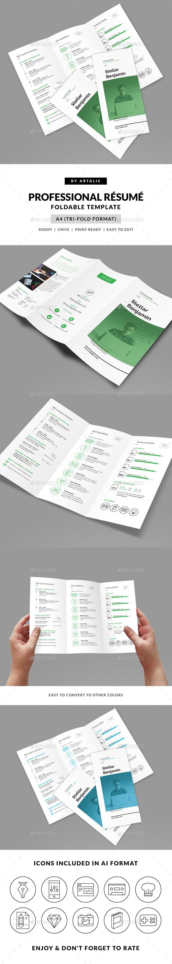 GraphicRiver Stellar Tri-fold Resume CV 9701026