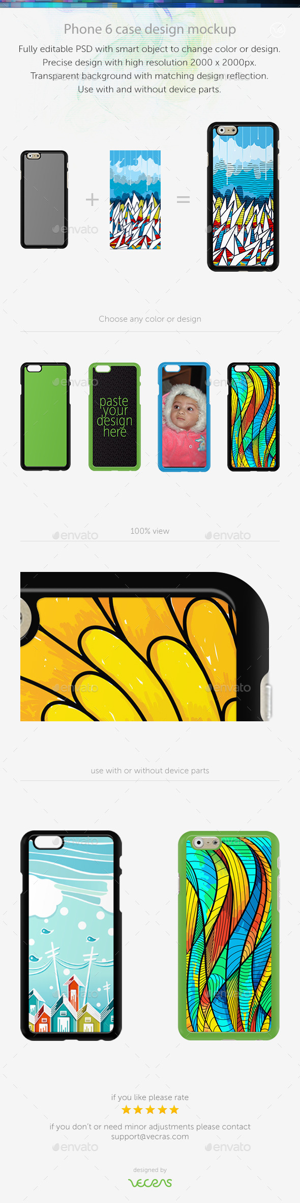 GraphicRiver Phone 6 Sticker Case Design Mockup 9701063