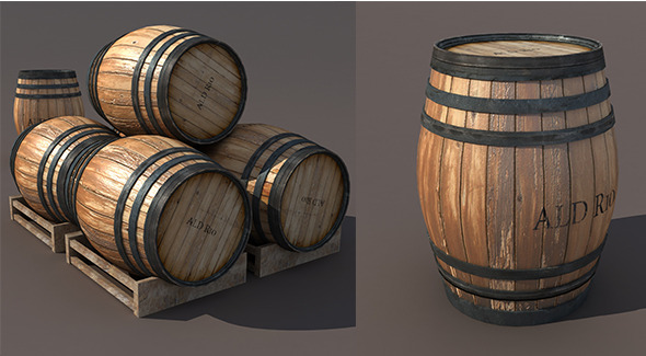3DOcean Wooden Barrel Low poly 3D Model 9701135