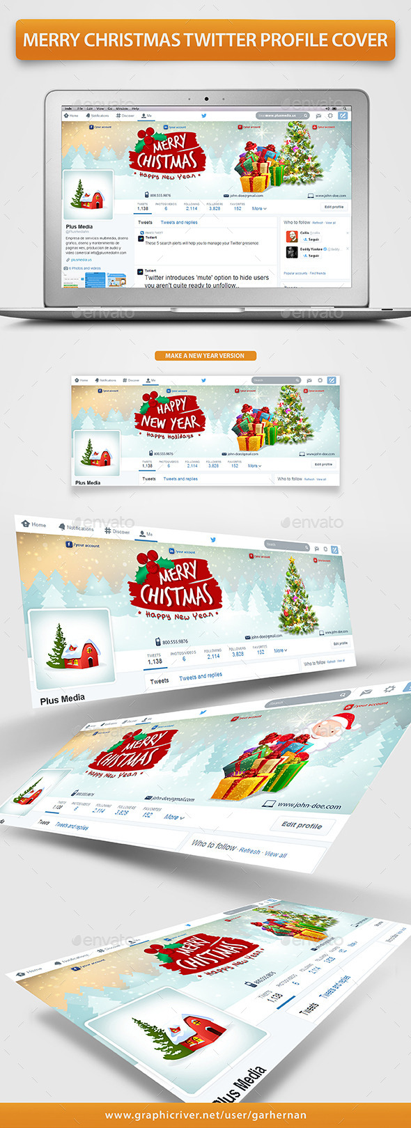 GraphicRiver Merry Christmas Twitter Profile Cover 9701184