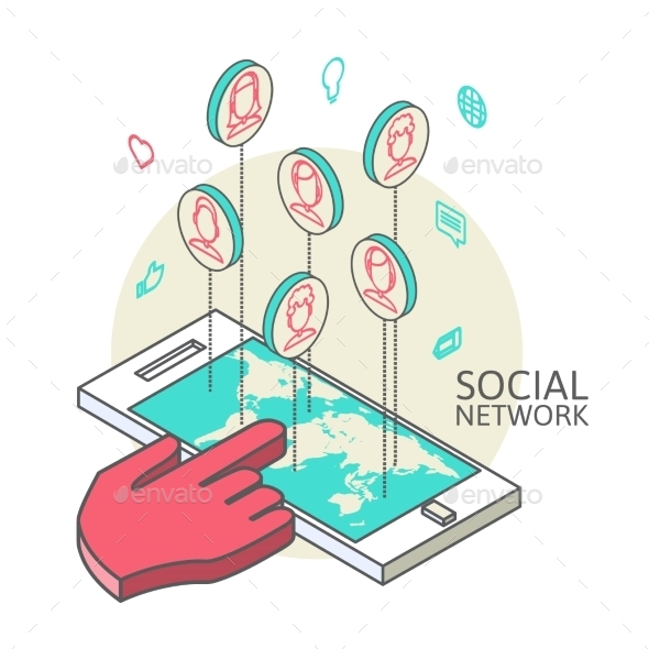 GraphicRiver Conceptual Image with Social Networks 9701236