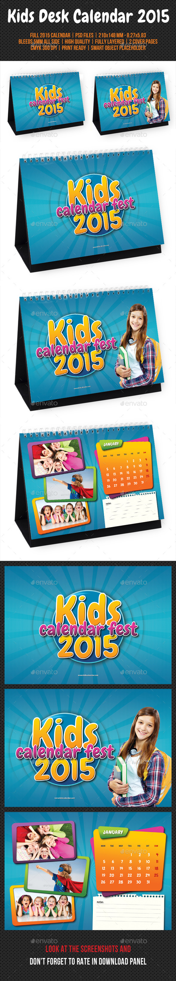 GraphicRiver Kids Desk Calendar 2015 9701399