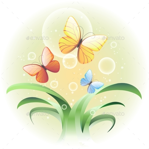 GraphicRiver Sprouts and Butterflies 9701495
