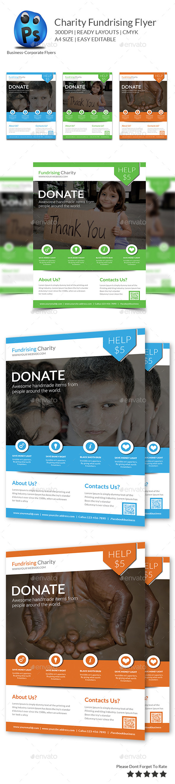 GraphicRiver Charity Fundrising Flyer Print Templates 9701522