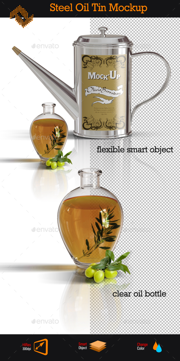 GraphicRiver Stainless Steel Oil Tin Mockup 9701589
