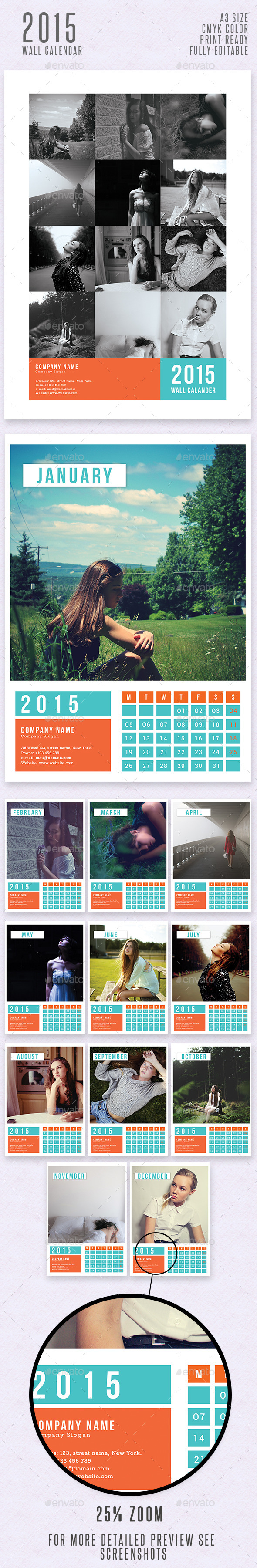 GraphicRiver Simple Wall Calendar 2015 9701789
