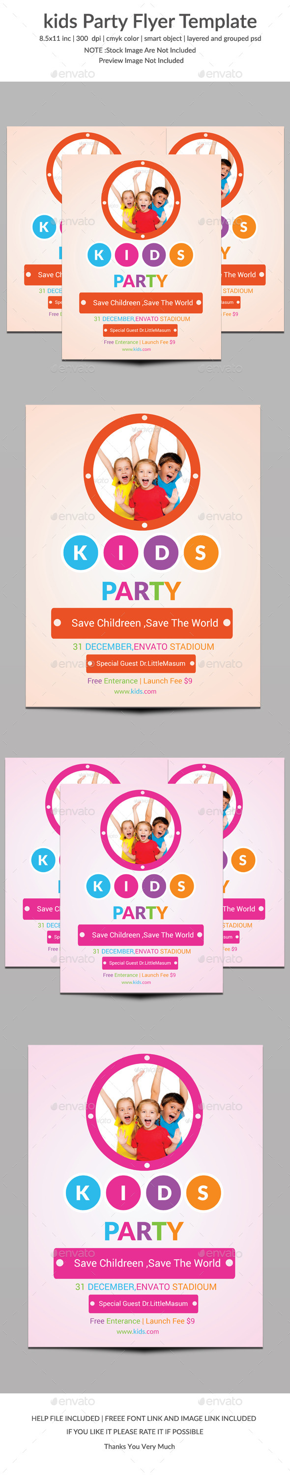 GraphicRiver Kids Party Flyer Template Two 9702019