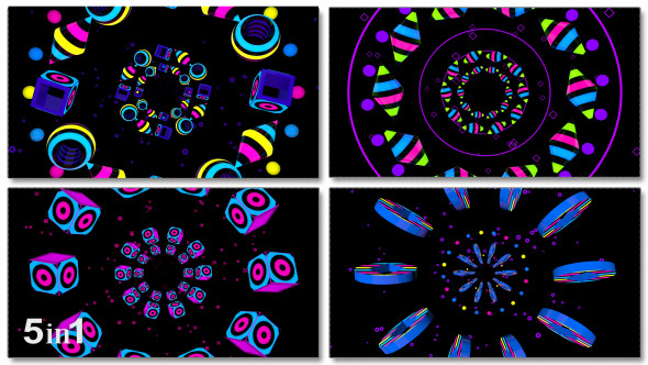 VideoHive Colorful Disco Tunnel 5-Pack 9702165
