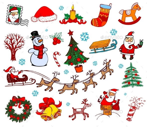 GraphicRiver Christmas Doodle Symbols 9702194