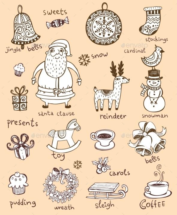 GraphicRiver Christmas Doodle Symbols 9702203