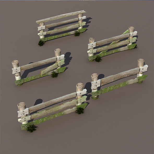 3DOcean Wood Fence Low Poly 9702229