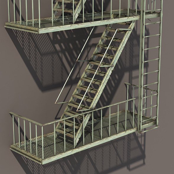 Fire Escape Stairs Low Poly - 3DOcean Item for Sale