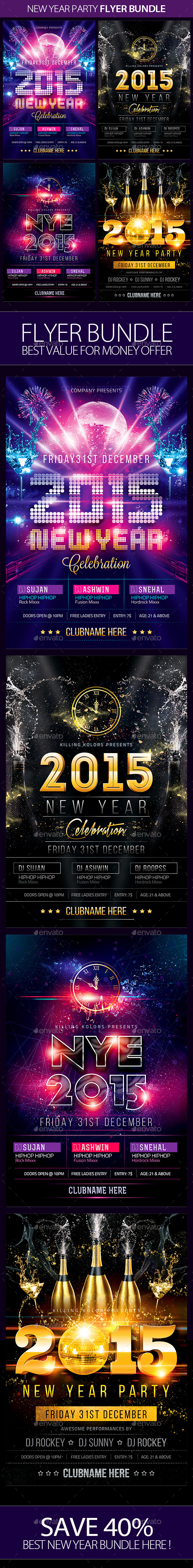 GraphicRiver New Year Party Flyer Bundle 9702245