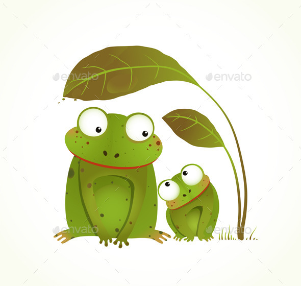 GraphicRiver Two Frogs Mother and Baby 9702458