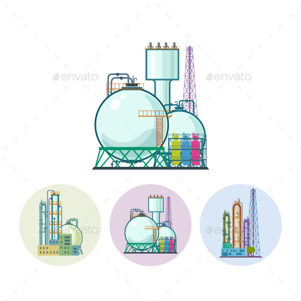 Chemical Plant Refinery Processing Icons