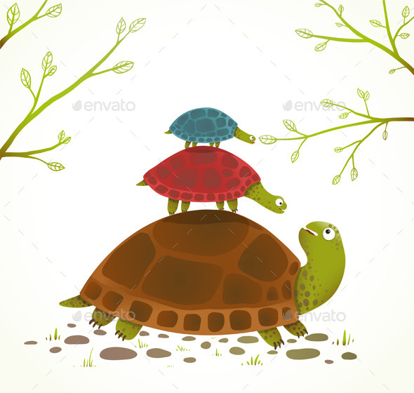 GraphicRiver Turtle Mother and Babies 9702473