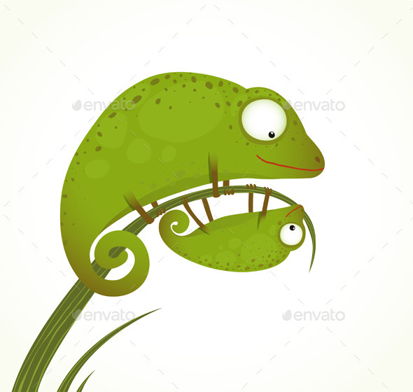 GraphicRiver Two Lizards Mother and Baby 9702484