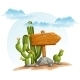 Wooden Pointer with Cacti in the Desert - GraphicRiver Item for Sale