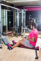 seated cable row man rows at gym pulley machine - PhotoDune Item for Sale