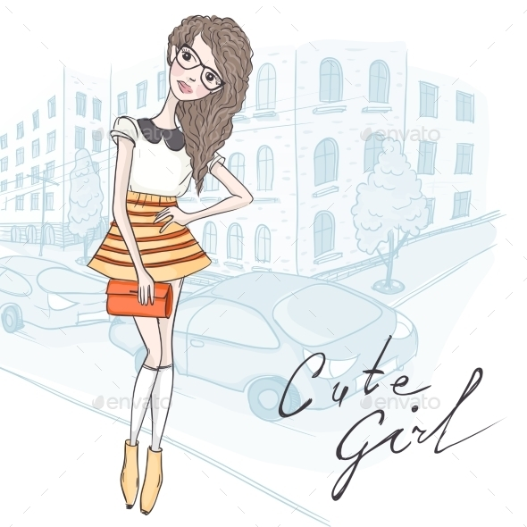 GraphicRiver Hipster Fashion Girl 9702724
