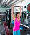 brunette narrow grip barbell shoulder press - PhotoDune Item for Sale