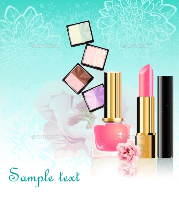 GraphicRiver Cosmetics Set with Flowers 9702728