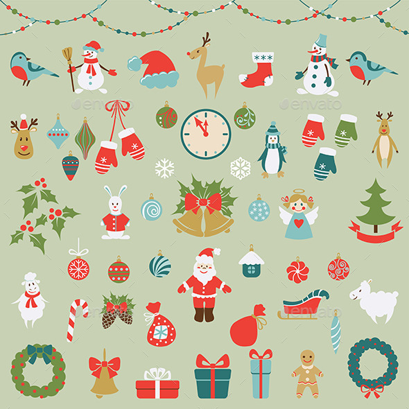 GraphicRiver Set of Christmas Flat Graphic Elements 9702890