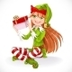 Elf Sitting and Holding Gift  - GraphicRiver Item for Sale