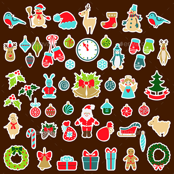 GraphicRiver Set of Christmas Stickers 9702971