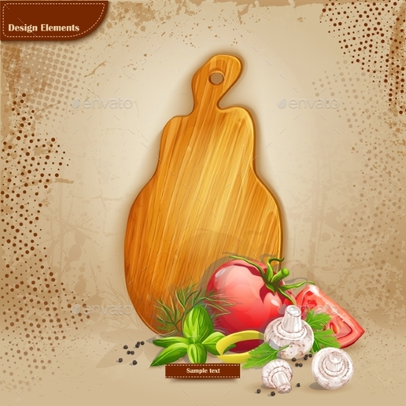 GraphicRiver Background with Cutting Board and Ingredients 9702990