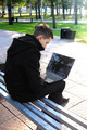 Man with Laptop outdoor - PhotoDune Item for Sale