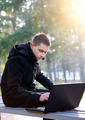 Young Man with Laptop outdoor - PhotoDune Item for Sale