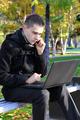 Sad Man with Laptop outdoor - PhotoDune Item for Sale